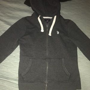 Polo sweater / sweatshirt with hoodie